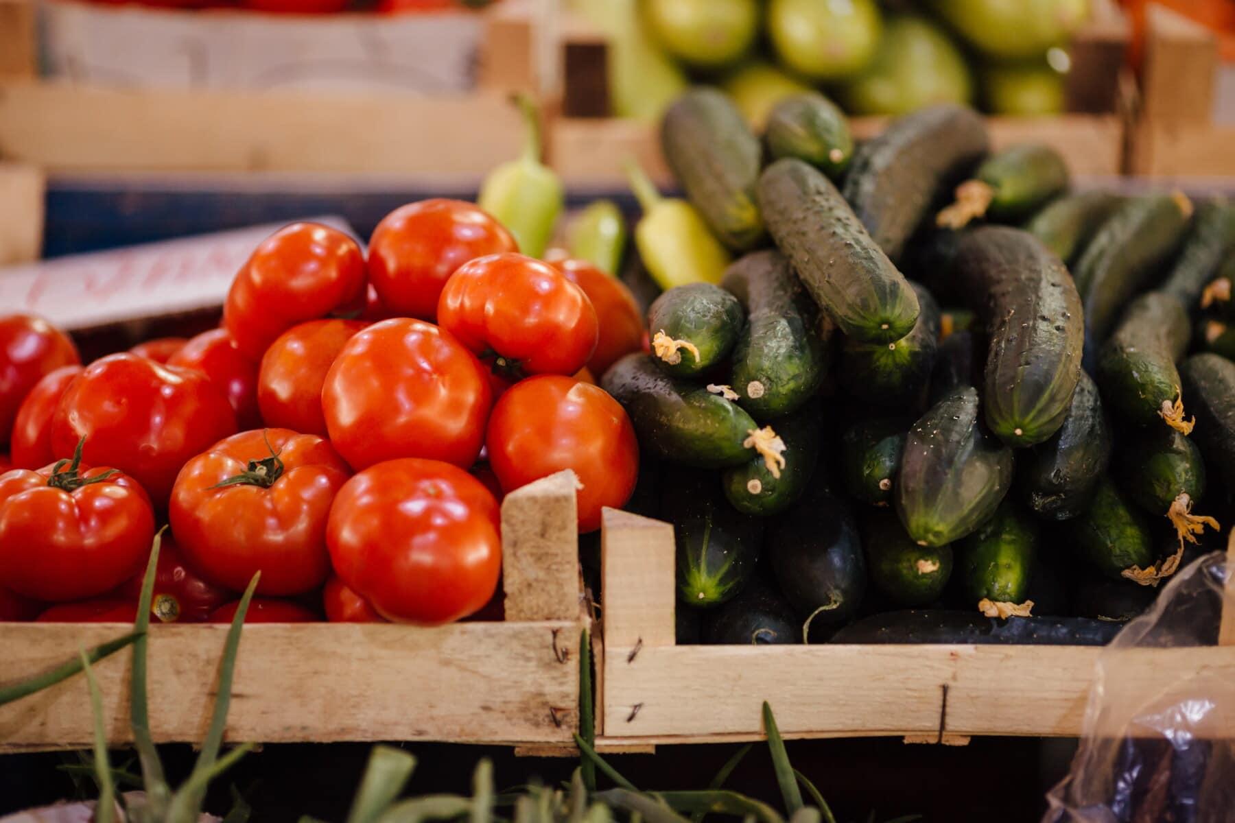 rot, Tomaten, Lebensmittel, Marktplatz, Einkaufen, Gurke, Produkte, Landwirtschaft, Gemüse, Tomaten