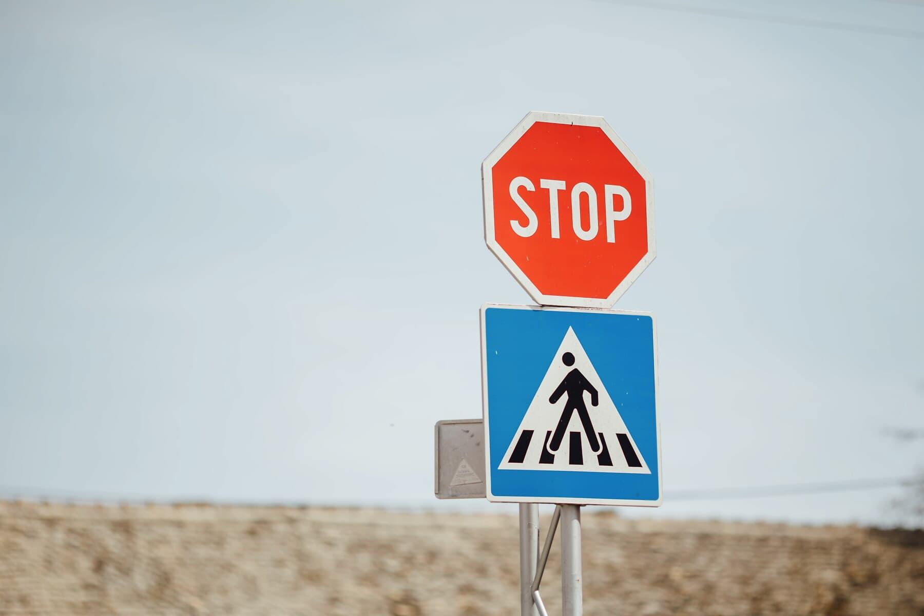 Stop, Zebrastreifen, Zeichen, Verkehr, Stau, Verkehrssteuerung, Kreuzung, Crossing-over, Warnung, Straße