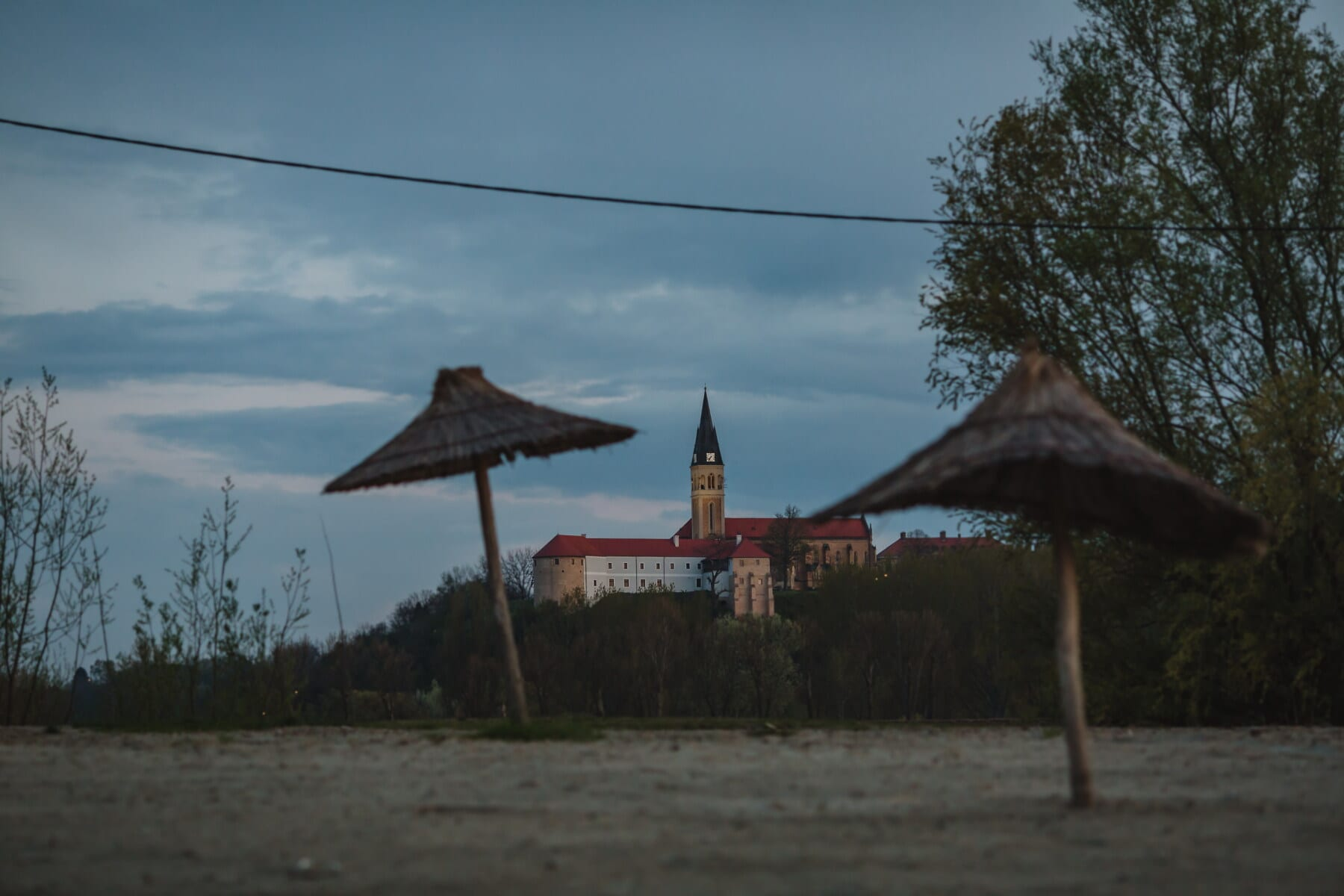 dusk, parasol, beach, church tower, medieval, monastery, tree, landscape, umbrella, home