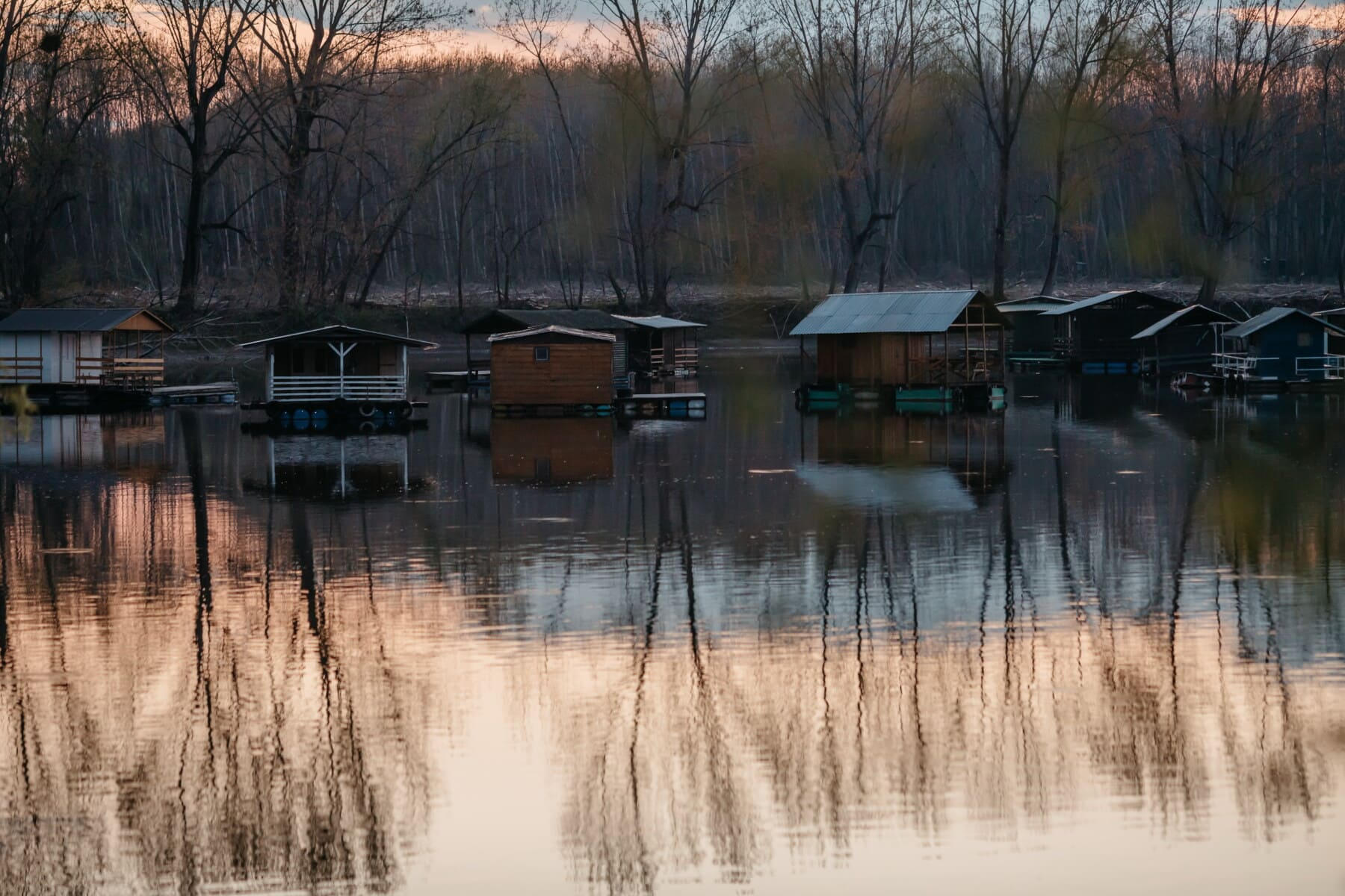 Bootshaus, ruhig, am See, Schuppen, Fluss, Gebäude, Reflexion, See, Wasser, Natur