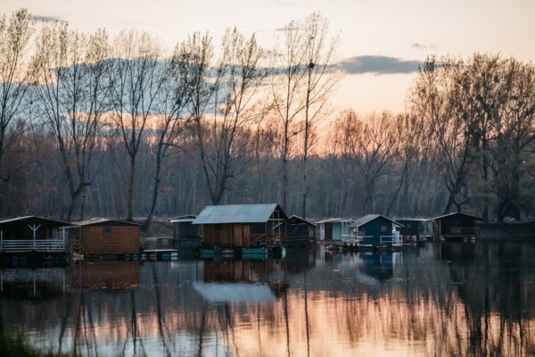 lake, boathouse, lakeside, water, shed, reflection, building, landscape, house, nature