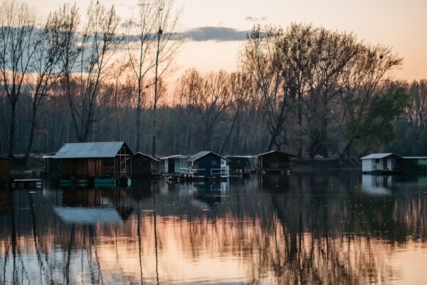 water, shed, lake, reflection, building, boathouse, river, landscape, house, nature