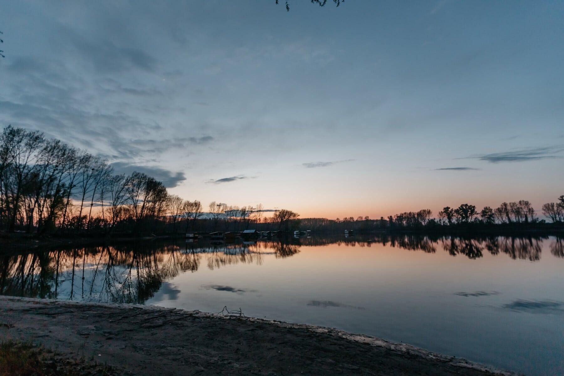 sunrise, lake, beach, sunrays, blue sky, basin, landscape, lakeside, shore, water