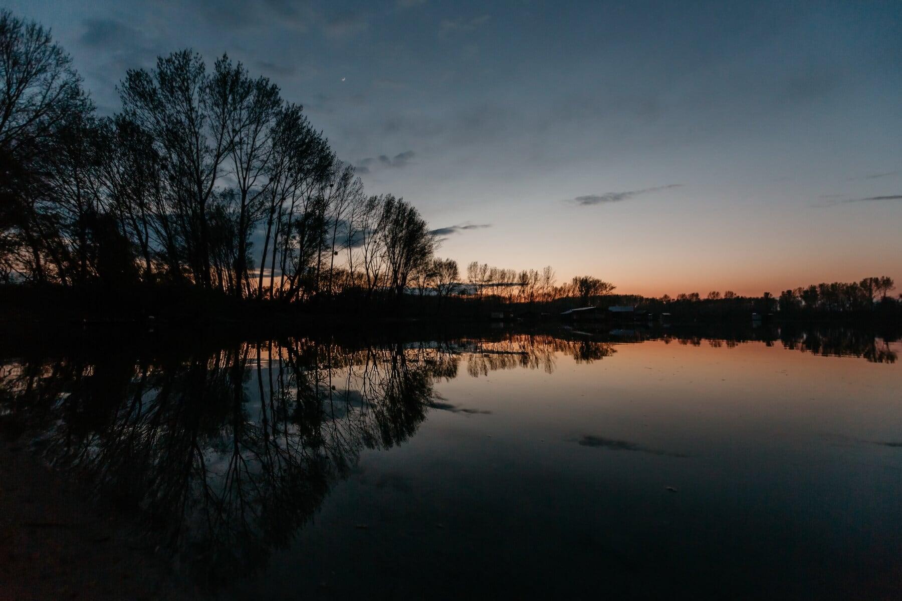 evening, sunset, lake, water, shore, lakeside, atmosphere, landscape, reflection, dawn