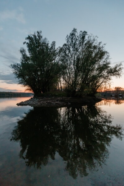 landscape, lake, tree, lakeside, shore, water, nature, reflection, river, dawn
