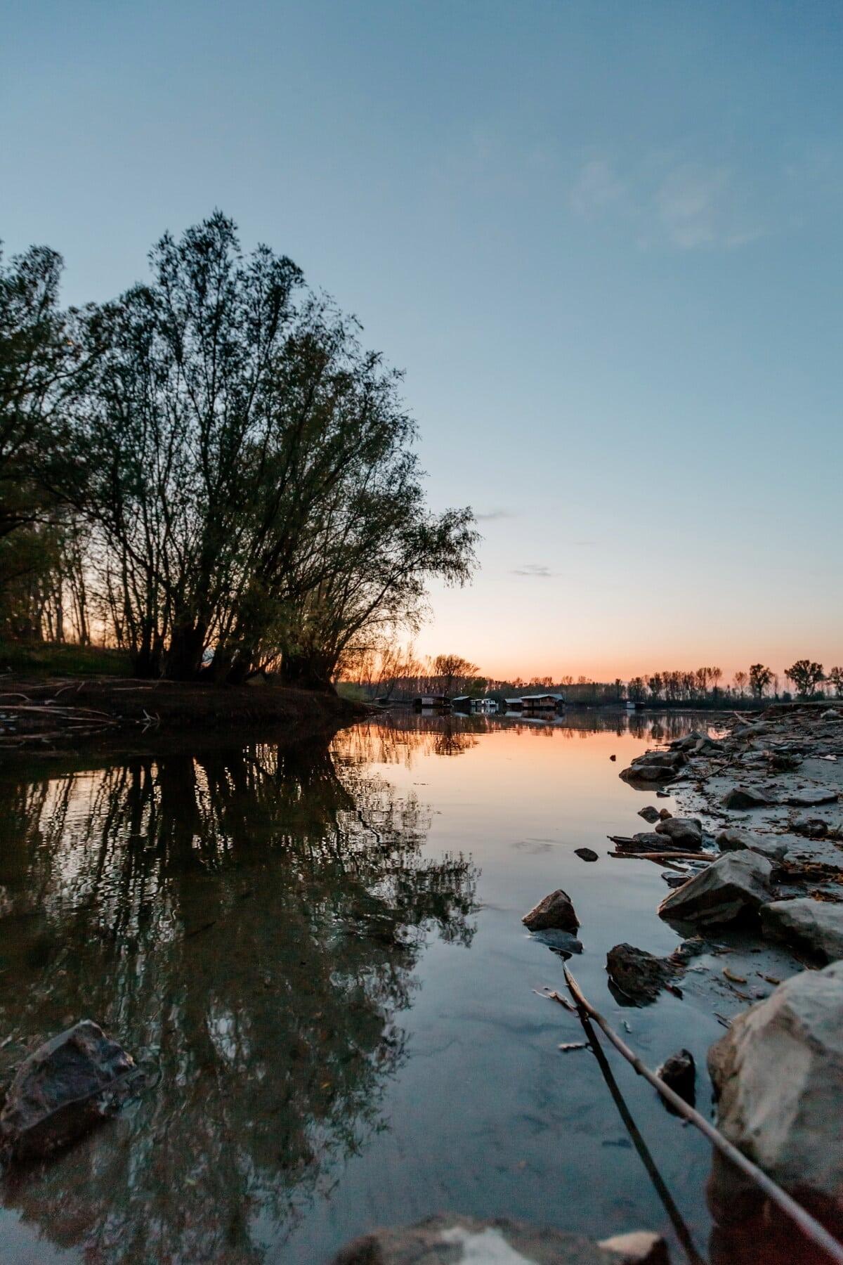 See, am See, Landschaft, Ufer, Wasser, Struktur, Natur, Fluss, Reflexion, Dämmerung