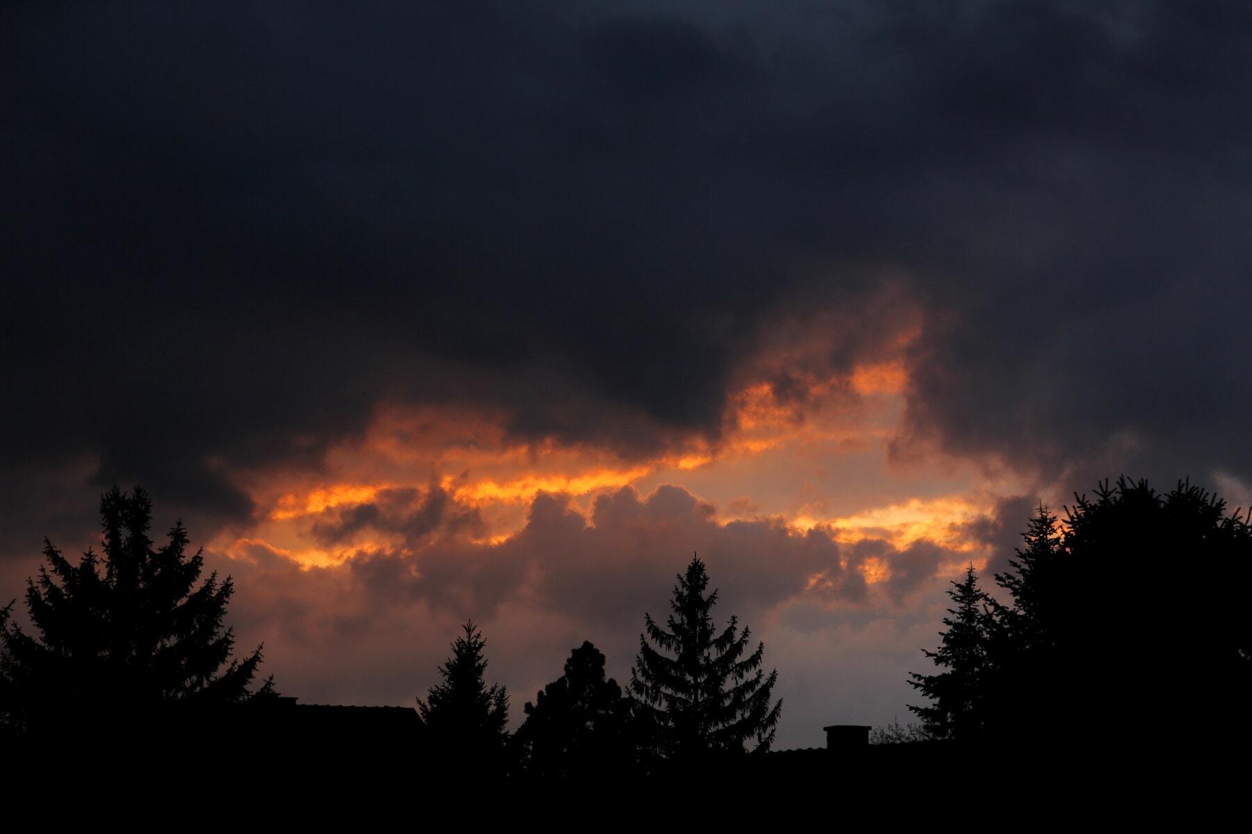 Ανατολή ηλίου, σκούρο, σκοτάδι, αστέρι, σύννεφα, καιρικές συνθήκες, ατμόσφαιρα, Αυγή, σύννεφο, ηλιοβασίλεμα