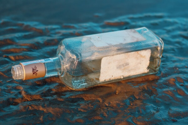 glass, bottle, coast, empty, trash, garbage, wet, nature, water, summer