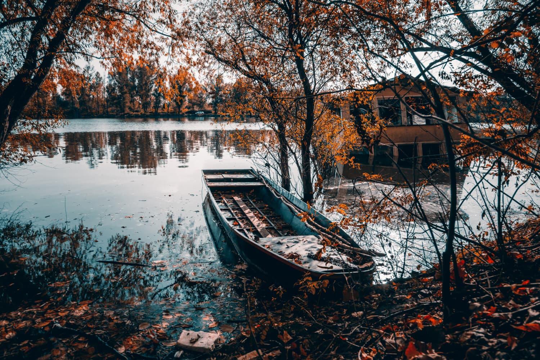 βάρκα, λεμβοστάσιο, πλημμύρα, δέντρο, νερό, Ποταμός, φύλλο, τοπίο, Λίμνη, ξύλο