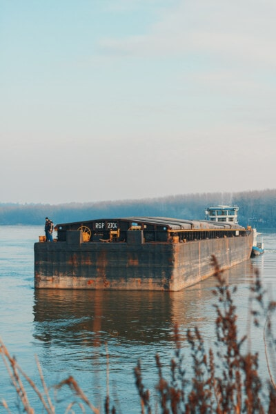 cargo ship, barge, sailor, ship, water, sunset, lake, dawn, nature, river