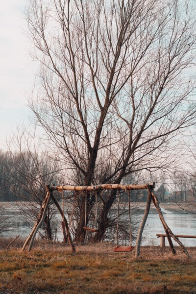 playground, rural, swing, riverbank, cold, landscape, tree, trees, forest, winter