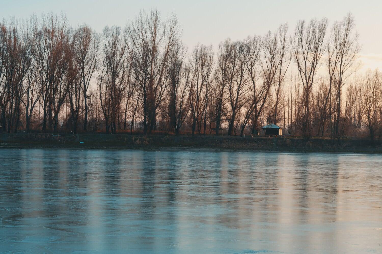 congelés, Hiver, berge, littoral, rivière, placide, paysage, réflexion, Lac, eau