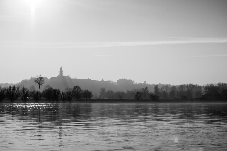 matin, côte, lever du soleil, rayons de soleil, rivière, noir et blanc, paysage, réflexion, Lac, eau
