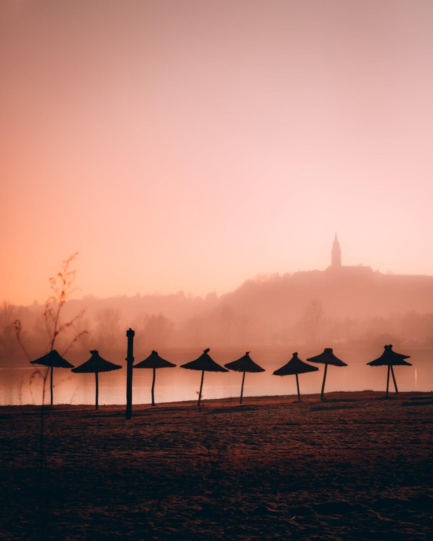 plage, brouillard, ombre, lever du soleil, silhouette, aube, paysage, soleil, coucher de soleil, soirée