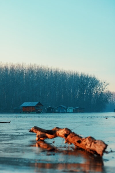 frozen, ice, cold, cold water, river, river basin, water, nature, winter, sunset
