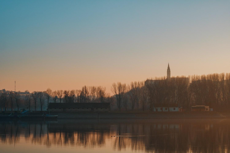 placide, coucher de soleil, idyllique, rivière, paysage, atmosphère, eau, réflexion, Lac, aube