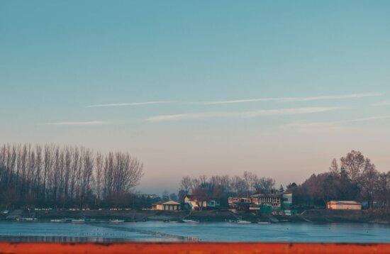winter, lake, frozen, costline, cold water, dawn, beach, water, boat, nature