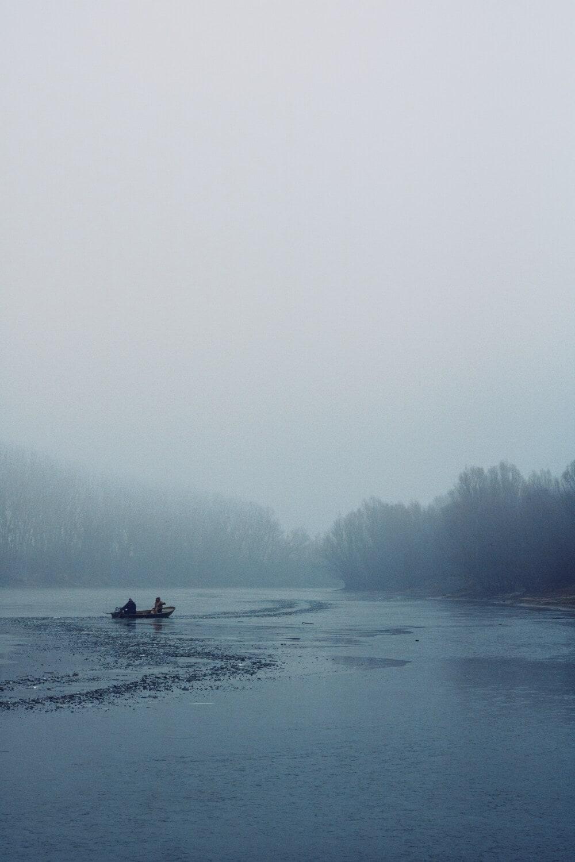 Lac, congelés, cristal de glace, Hiver, gens, pagayer, bateau de pêche, pêcheur, froide, brouillard