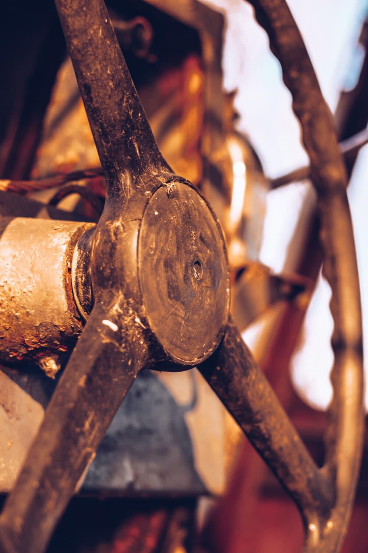 démodé, fer de fonte, roue, vieux, rouille, abandonné, en bois, antique, Retro, en acier