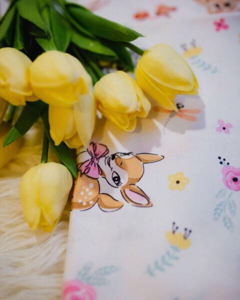 yellow, tulips, bouquet, handkerchief, flower, petal, plant, nature, easter, tulip