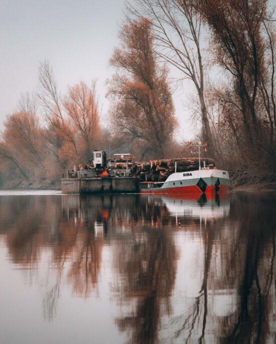 транспорт, дерево, груз, грузовое судно, Отгрузка, промышленность, тяжелые, река, машина, Баржа