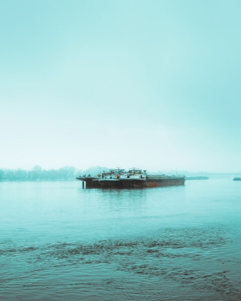 day, river, cargo ship, foggy, barge, transport, watercraft, water, beach, shipping