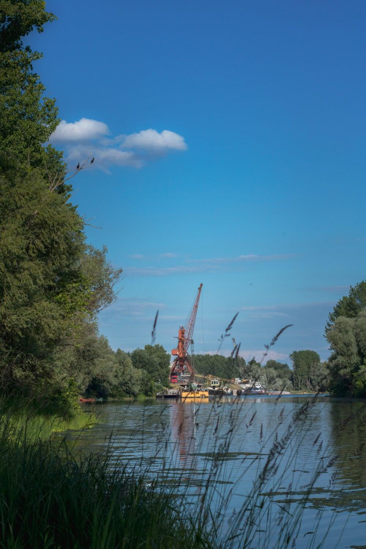 jetée, industriel, rivière, eau, Lac, nature, paysage, bois, arbre, été