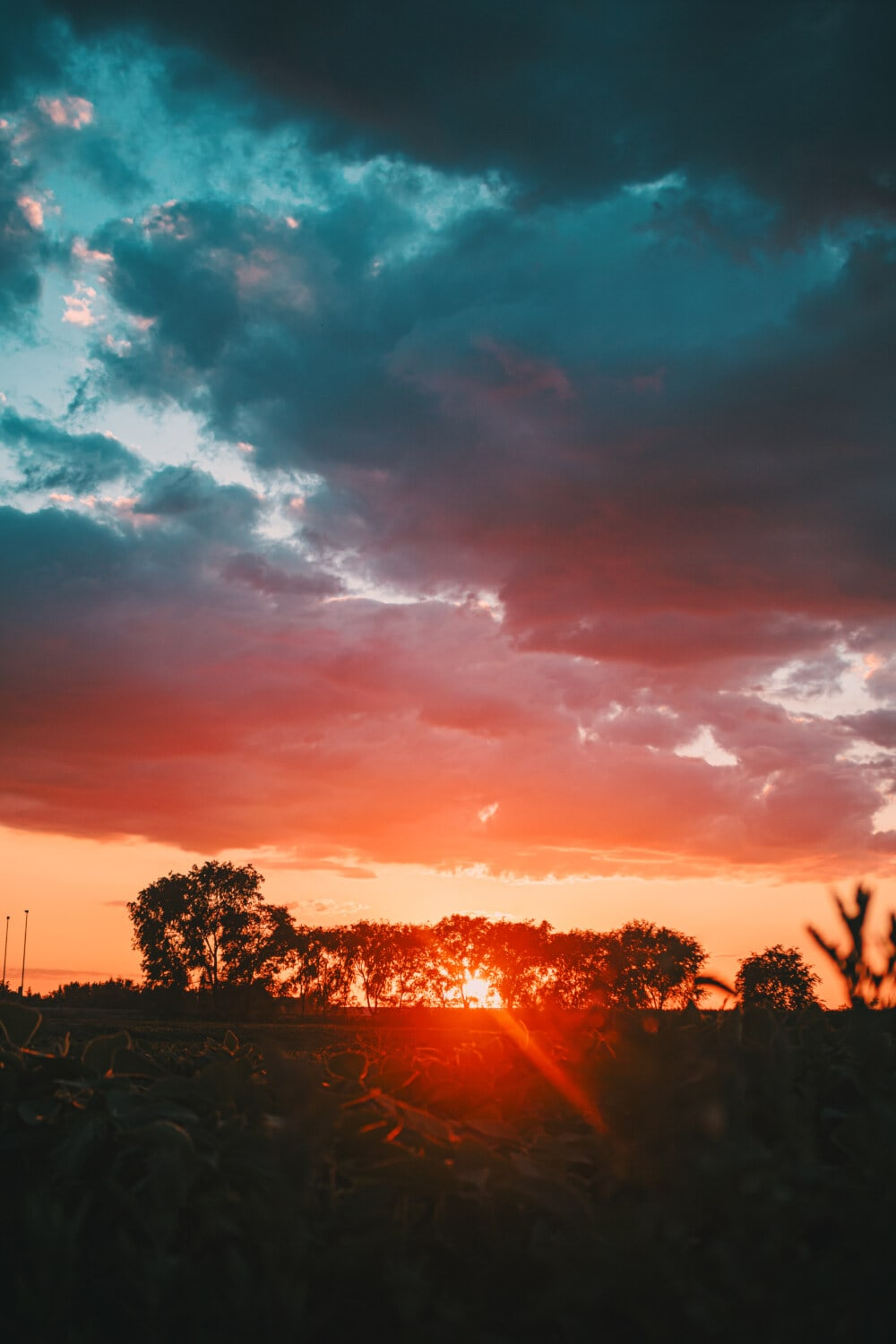 dramatic, sunset, field, rural, agricultural, clouds, dawn, landscape, atmosphere, sun
