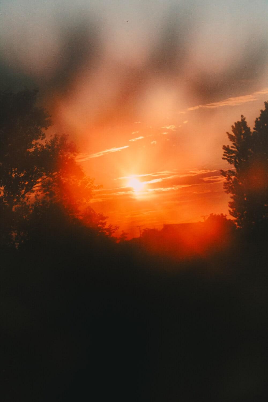 matahari terbenam, suar, suasana, awan, bintang, matahari, Fajar, cerah, Cuaca, kebakaran