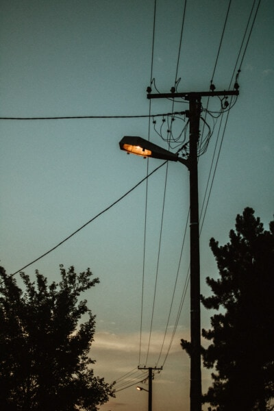 electricity, light bulb, street, dusk, shadow, evening, wires, wire, electric, cable