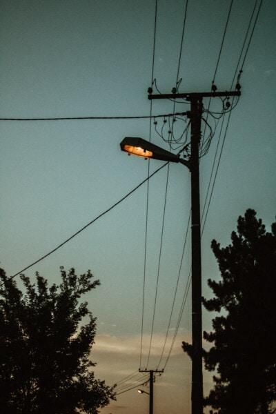 elektrisitet, lyspære, gate, skumring, skygge, kveld, ledninger, metalltråd, elektrisk, kabel