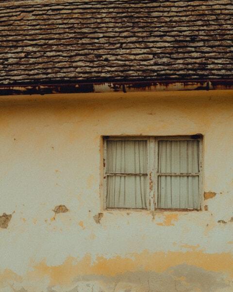 casa, janela, abandonado, ruína, decadência, velho, telhado, parede, telhado, arquitetura