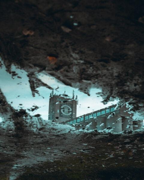 budova, reflexe, bahno, déšť, venku, voda, průmysl, tmavý, špinavý, architektura