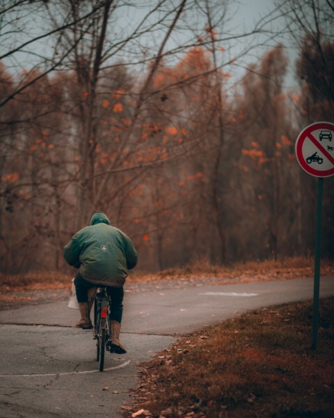 person, driving, sign, bicycle, sign painter, road, street, wheel, cyclist, bike