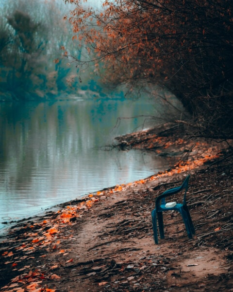 riverbank, plastic, chair, river, water, landscape, nature, color, dawn, lake