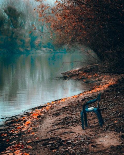 Brzeg rzeki, plastikowy, krzesło, Rzeka, wody, krajobraz, natura, Kolor, świt, Jezioro