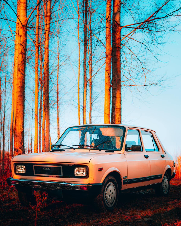 Yugoslavia, coche, antigua, estilo antiguo, camino de bosque, vehículo, transporte, automóvil, Carretera, clásico
