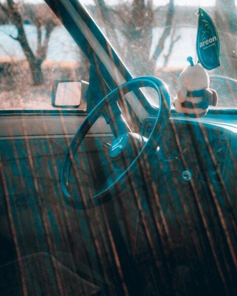 autosedačky, čelní sklo, kormidelní kolo, Srbsko, Jugoslávie, auto, Retro, umění, venku, ocel