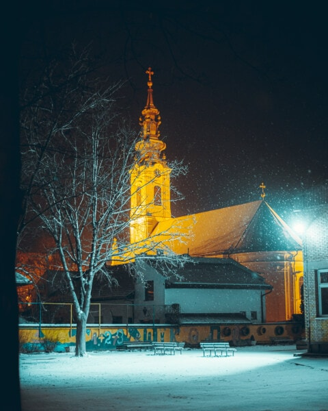 snowflakes, night, snowy, church, church tower, buildings, street, snow, winter, city
