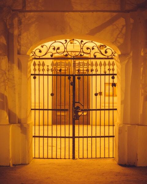 gietijzer, poort, muur, sepia, speerpunt, deur, gebouw, kerk, het platform, deuropening