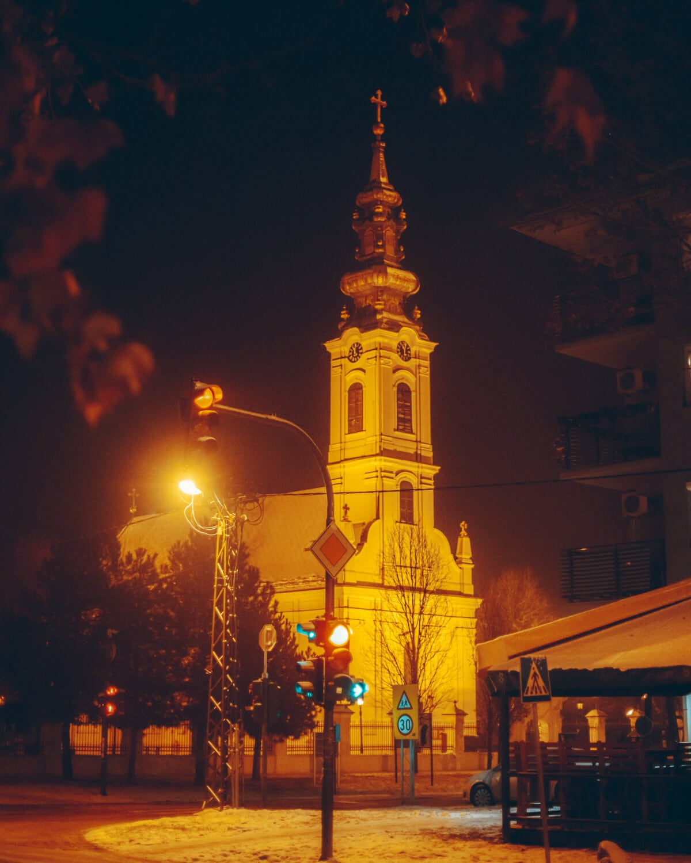 church tower, night, church, crossroads, traffic control, semaphore, town, street, tower, building