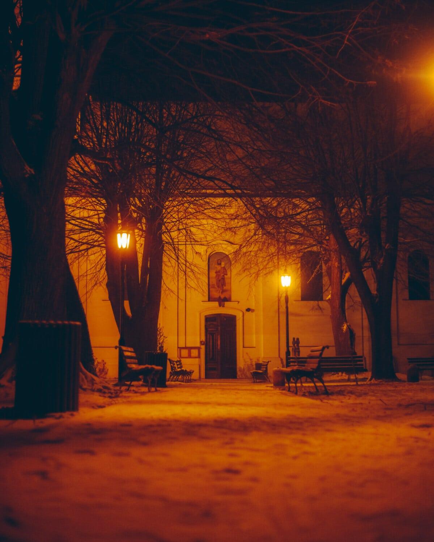 Hinterhof, Kirche, Nacht, Lampe, Mitternacht, Straße, Beleuchtung, Licht, Architektur, Friedhof