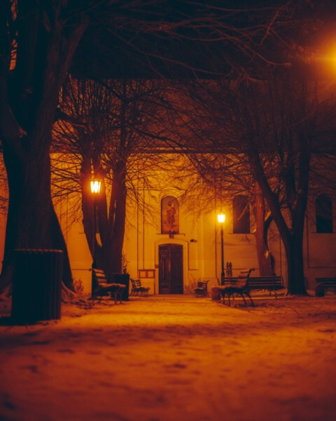 backyard, church, night, lamp, midnight, street, lighting, light, architecture, cemetery