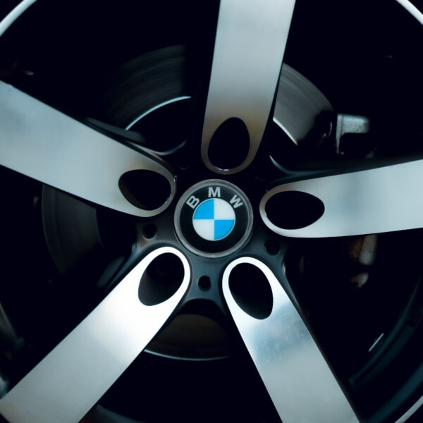 BMW, close-up, aluminum, rim, sign, sports car, tire, machine, wheel, abstract
