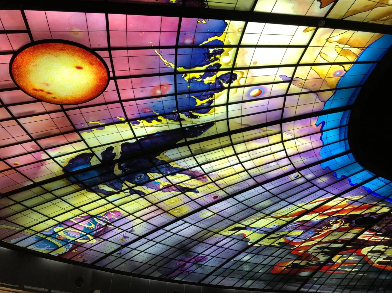 art, Résumé, au plafond, verre souillé, futuriste, luminescence, illumination, conception, lumière, modèle