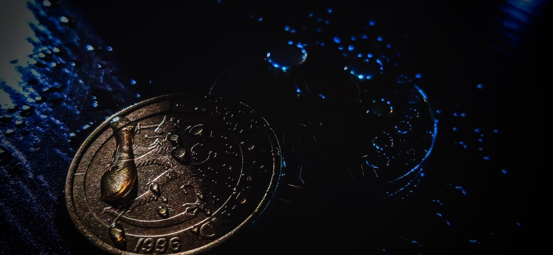 money, coin, close-up, moisture, wet, waterdrop, shadow, dark, darkness, abstract