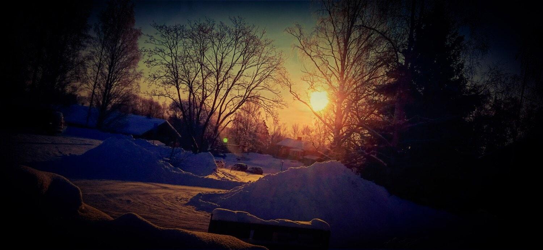 Winter, Sonnenuntergang, Ackerland, Bauernhaus, Scheune, Dämmerung, Struktur, Landschaft, Schnee, Licht
