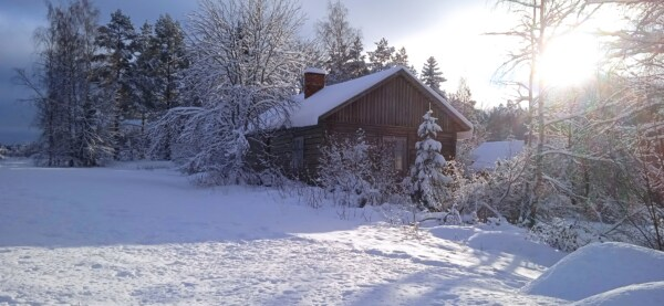 snowy, cottage, winter, day, daylight, sunny, wood, barn, cold, structure