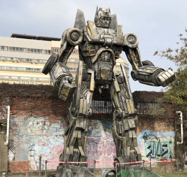 robot, Taiwan, gros, métalliques, sculpture, art, mât totémique, statue de, structure