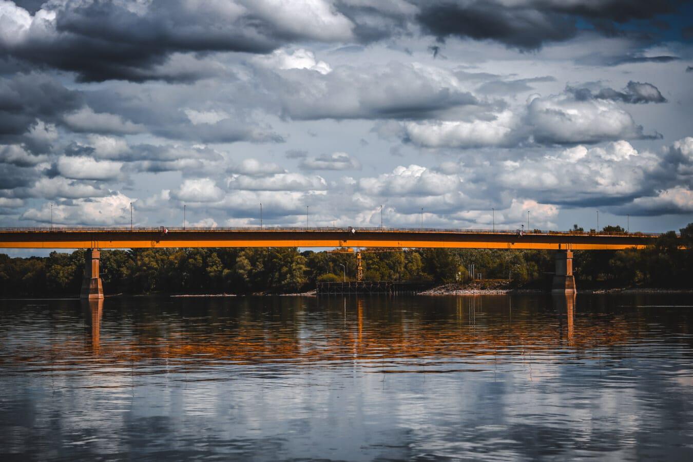 bridge, river, bad weather, storm, clouds, reflection, water, sunset, dawn, lake